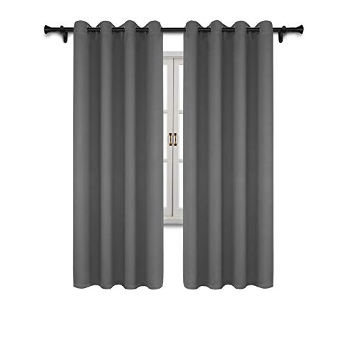 SUO AI TEXTILE Blackout Curtain Panels for Bedroom-Window Treatment Thermal Insulated Drapes Solid Grommet Blackout Window Curtains for Bedroom(2 Panels,52x84 Inch,Grey)