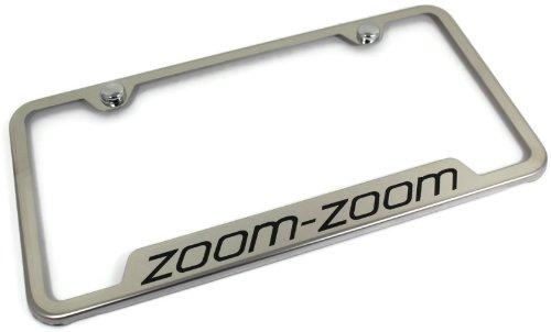 (Mazda Zoom Stainless Steel License Plate Frame Engraved Chrome Made in USA Frame Mirror Bright Chrome)
