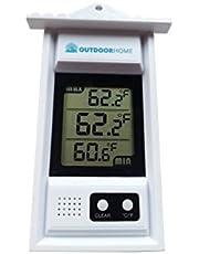 OutdoorHome Termómetro de Min/MAX Termómetro. Uso Interior y Exterior. A de Tiempo Digital con lecturas de Corriente Sensor de Temperatura & Auto para min/MAX.