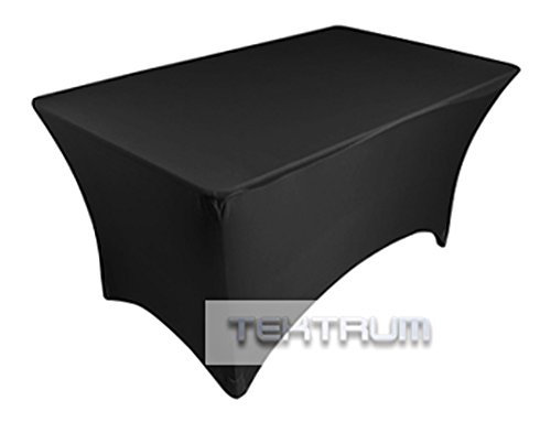 TEKTRUM 4 FT LONG RECTANGULAR STRETCH TABLECLOTH DJ JACKET COVER FOR TRADE SHOW - PREMIUM FABRIC (Black)