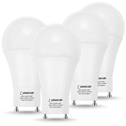 LOHAS GU24 Bulb, A19 LED Light Bulb GU24 Base, 60 Watt Equivalent(9W LED), Warm White Lighting 2700K, 810LM LED Lamp, 240 Degree Beam Angle, Replace CFL Light(4 Pack) ()