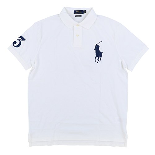 Polo Big Pony Mesh - Polo Ralph Lauren Mens Big Pony Custom Slim Fit Mesh Polo Shirt (Medium, White)