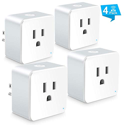 Wsiiroon WiFi Smart Plug, Upgraded Mini Outlet Remote Control Smart Socket with Timer Function, Compatible with Alexa and Google Home(Only 2.4GHz)-4 Pack