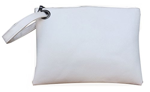 Hycurey Oversized Clutch Bag Purse and Handbag Womens Large PU Leather Evening Wristlet Handbags White by Hycurey