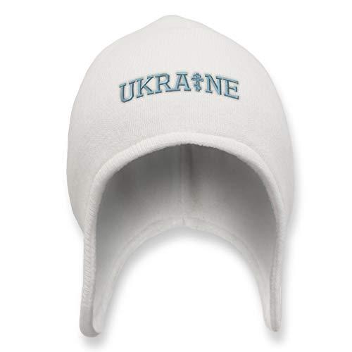 Custom Ear Flap Beanie for Men & Women Orthodox Cross Ukraine Embroidery Acrylic Skull Cap Helmet Hats White Design Only (Christmas Orthodox Ukraine)