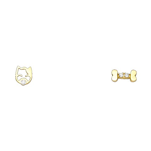 14k Yellow Gold Dog Bone Stud Earrings with Screw Back (14k Dog Yellow Gold)