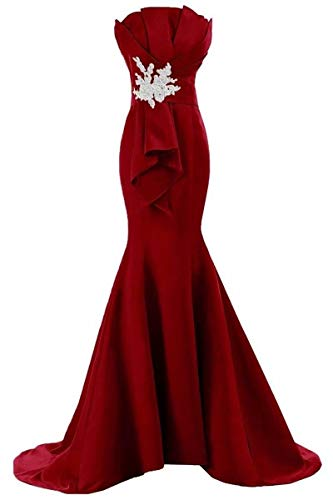 Women's Strapless Sheath Mermaid Satin Formal Evening Prom Party Dress Burgundy