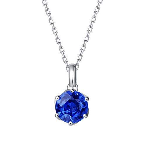 "Agvana 14K Solid White Gold 0.608Ct Genuine Natural Tanzanite Solitaire Pendant Necklace December Birthstone Gemstone Fine Jewelry Gifts for Women Girls, 16""+2"" Extender 14K Solid White Gold Chain"