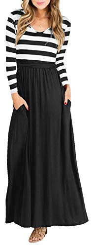 Green Women Striped Long Sleeve Tunic Vintage Casual Maxi Dress with Pocket Belt