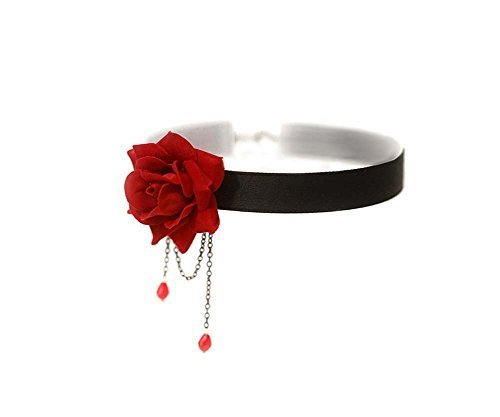 1 Pcs Retro Rose Collarbone Chain Clavicle Necklace Collar Ornament Perfect Gifts for Lady (Red) (Red)