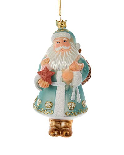 Kurt Adler 5In Noble Gems Glass Nautical Santa Ornament (Starfish Glass Christmas Ornament)