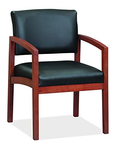 OfficeSource Dover Designer Office Guest Arm Chair, Cherry Finish, Black Bonded Leather, Sold Wood Frame, Reception, Waiting Rooms (1700CHTEK)