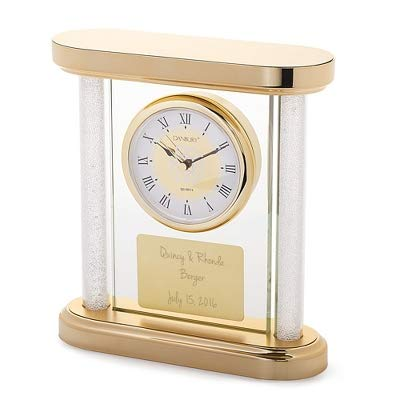 Things Remembered Personalized Gold Panel Wedding Clock with Engraving Included - Silver Heart Clock