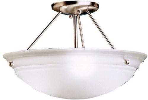 Kichler 3122NI Cove Molding Top Glass Semi-Flush 3-Light, Brushed Nickel