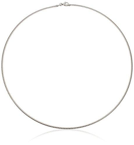 - 14k Italian White Gold 1.7mm Flexible Omega Chain Bracelet, 17