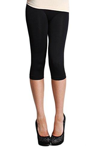 LVG Womens Seamless Capri Leggings Made in USA. Nikibiki Black One - Black In The Running