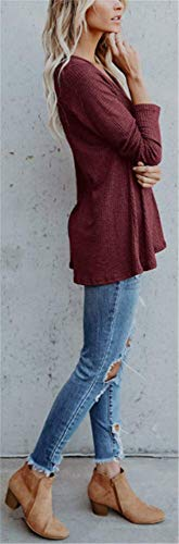Tops Sexy Boutons Bordeaux Manches Tunique V avec YOGLY Col Blouse Couleur Femme Longues Chic T Mode Shirt Unie Casual qPPUTZWtF