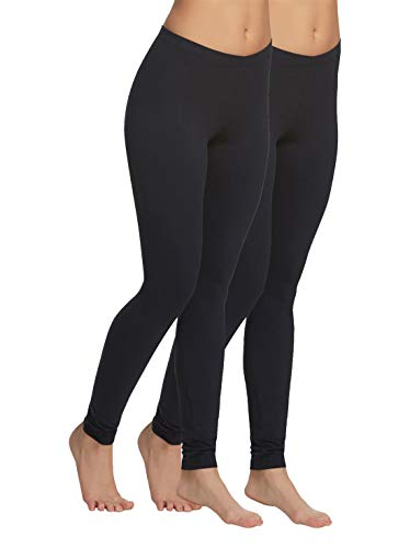 (Felina | Velvety Soft Lightweight Leggings | Breathable & Moisture Wicking | Lounge Pants | Yoga Pants | Mid-Rise Waistband | 2 Pack Black)