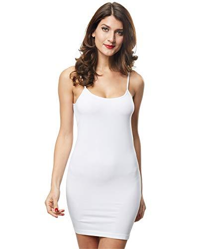 48d09e5669e Franato Women Full Slip Dress Spaghetti Strap Slim Long Camisole Basic  Layering White