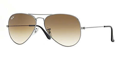 RAY-BAN RB 3025 AVIATOR SUNGLASSES (55 mm, 004/51 GUNMETAL/GRADIENT BROWN) by Ray-Ban