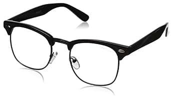 zeroUV Vintage Inspired Classic Horn Rimmed Nerd Horn Rimmed UV400 Clear Lens Glasses, (Clear | Black-Gunmetal), 49 mm