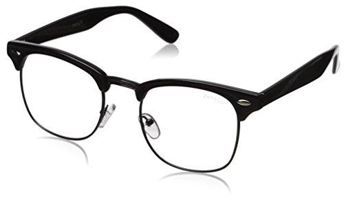 zeroUV Vintage Inspired Classic Horn Rimmed Nerd Horn Rimmed UV400 Clear Lens Glasses, (Clear | Black-Gunmetal), 49 - Glasses Amazon Clear