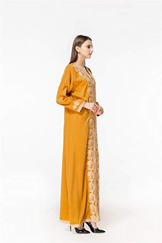 Encaje Cuentas Baronhong Floral Vestido Amarillo De Maxi Con Abalorios Mujer 1SBxSXT