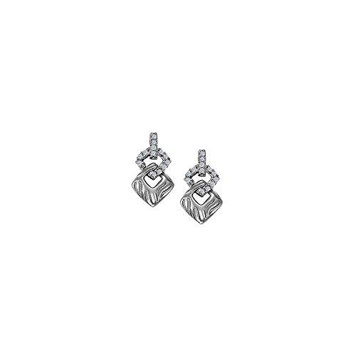 Tdw Diamond Square Earrings - April Birthstone Diamond Double Square Earrings in 14K White Gold 0.25 CT TDW