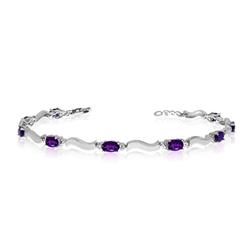 10K White Gold Oval Amethyst and Diamond Bracelet (7 Inch Length) (Amethyst Bracelet 10k Gold)