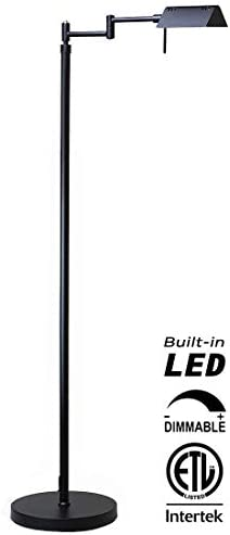 O Bright Dimmable LED Pharmacy Floor Lamp, 10W LED, All Range Dimming, 360 Swing Arms, Adjustable Heights, Standing Lamp for Reading, Sewing, and Craft, ETL Listed, Black