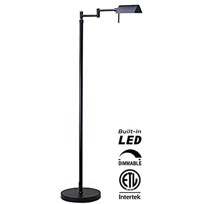 O'Bright Dimmable LED Pharmacy Floor Lamp, 12W LED, All Range Dimming, 360° Swing Arms, Adjustable Heights, Standing Lamp for Reading, Sewing, and Craft, ETL Listed (Black) - ✔️ ETL LISTED – O'Bright LED pharmacy floor lamp passes ETL Safety Standard Test and has ETL certification. ETL safety standard ensures you a safe product for daily use. ✔️ SUPER BRIGHT LED / ENERGY SAVER – The end-table floor lamp is built-in high efficient 10 Watts LEDs with approximately 50,000 hrs lifespan. You will never need to worry about replacing the light bulbs. The LEDs deliver Max.1050 Lumens of brightness (equal to 75W incandescent bulbs) which with ONLY 10 Watts power consumption, which saves you up to 80% of electricity bill, compared to halogen and incandescent lighting. ✔️ DIMMABLE / MEMORY FUNCTION - The LED reading lamp is built-in a smart dimmer switch with all range dimming and memory setting functions. Simply long press on the switch button to adjust the brightness and release the button when the light changes to your desired light level. You may dim the light to a soft setting for mood light or reading. Or, you can also change it to a high-level setting when you need a brighter light for craft works or sewing. The dimmer will always memorize your setting. - living-room-decor, living-room, floor-lamps - 31JYvcKGm8L. SS400  -