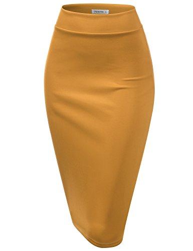 (CLOVERY Women's Basic Comfort Stretch Cotton Elastic Waist Knee Length Pencil Skirt Turmeric M)