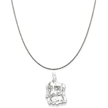 Mireval Sterling Silver Antiqued Dog Charm on a Sterling Silver Chain Necklace 16-20