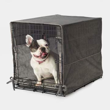 Pet Dreams New Double Door 3 Piece Crate Bedding Set. The Original Crate Cover, Crate PAD and Bumper JUST GOT Better! Fits Midwest Crate (48-Inch, Graphite Grey)