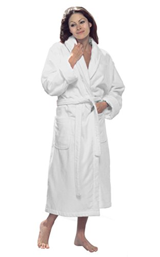 Cotton Men and Women Shawl robes Velour Mens Bathrobe, L/XL, White