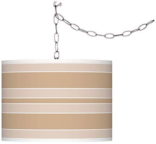 (Colonial Tan Bold Stripe Giclee Glow Plug-in Swag Pendant - Giclee Glow)