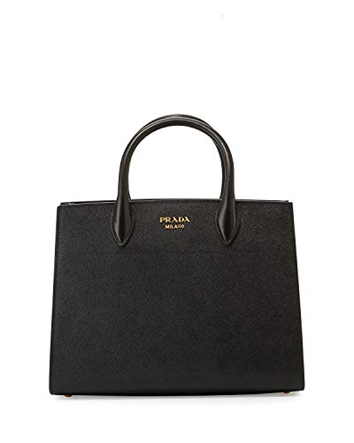 - Prada Bibliothèque Tote Saffiano City Leather Black and White Handbag 1BA049
