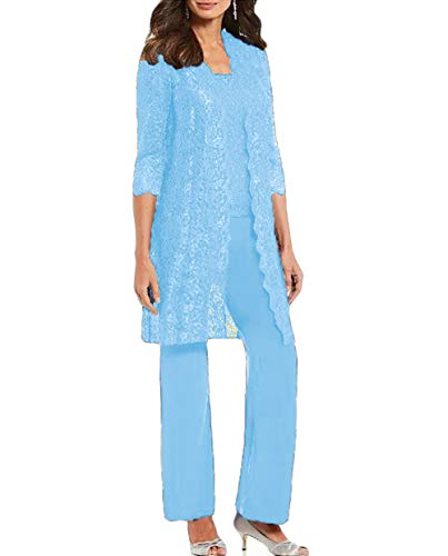 Mother Of The Bride Designer Suits - WZW Chic Mother of The Bride Pant Suits 3 Pieces Long Sleeve Chiffon Groom Mother Dress with Jacket Wedding Guest Gown Sky Blue