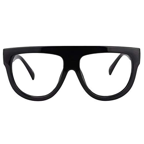 Zeelool Vintage Thick Oversized Aviator Eyeglasses for Men Jules FP0334-01, Clear Lens ()