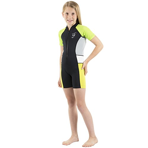 Seavenger Cadet 2mm Kids Shorty | Child Neoprene Wetsuit for Snorkeling, Surfing and Swimming (Yellow-Green, 3T)