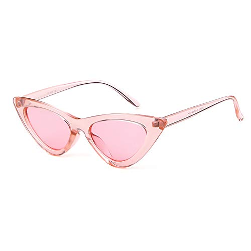 (JUCOO Clout Goggles Cat Eye Sunglasses Vintage Mod Style Retro Kurt Cobain Sunglasses (Clear Pink))