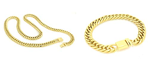 Solid 14k Yellow Gold Finsh Stainless Steel 12mm Thick Miami Cuban Link Chain Necklace & Bracelet Set 24''