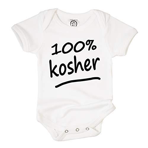 The Spunky Stork 100% Kosher Organic Cotton Baby Bodysuit (12-18M) White