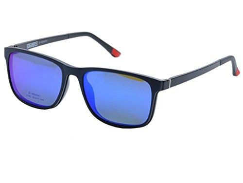 De Ding Men Women Optical Eyeglasses Frames With Magnetic Polarized Sunglasses Clips DD1410 (C001, Blue - With Eyeglass Women's Frames Magnetic Sunglasses