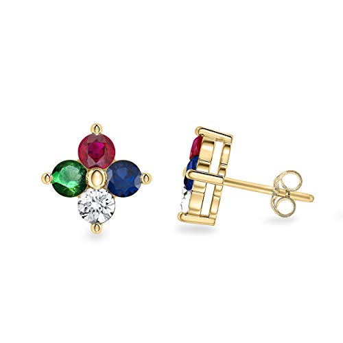 - 0.30 Cttw Round Cut Natural Multi Gemstone 4 Stone Clover Stud Earrings in 14K Solid Yellow Gold