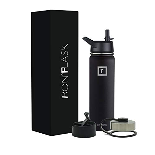 Iron Flask 22 Oz Black Sports Water Bottle - 3 Lids, Vacuum Insulated Stainless Steel, Hot & Cold, Wide Mouth, Double Walled, Simple Thermo Modern Travel Mug, Hydro Metal Canteen, 22 Oz Mid Black (22 Oz Vacuum Insulated Stainless Steel Mug Black)
