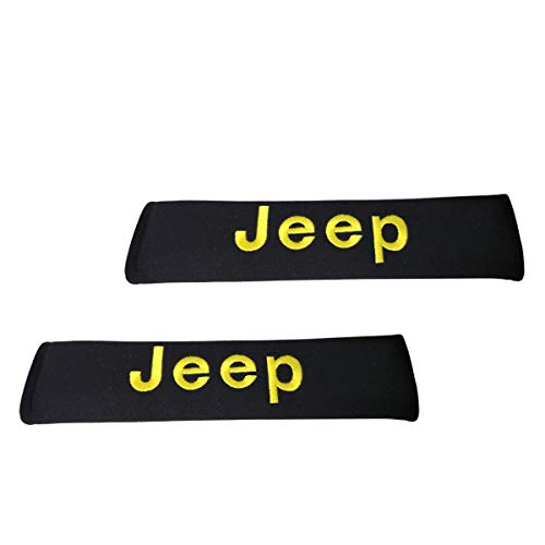2 Pad Car Jeep Seat Belt Covers Shoulder Pads Yellow Embroidered Wording Cushion Suitable Seat Belt Decoration Fit for Jeep Car Model Design ()