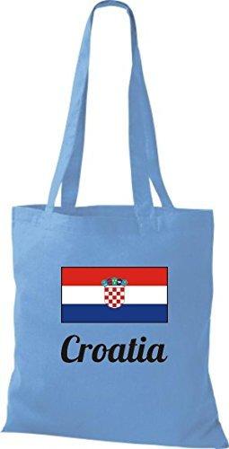 shirtinstyle Bolsa de tela bolsa de algodón länderjute CROATIA CROACIA - Blanco, 38 cm x 42 cm azul claro