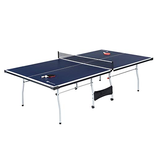is Set, Regulation Ping Pong Table with Net, Paddles and Balls (8 Pieces) - Blue and White ()