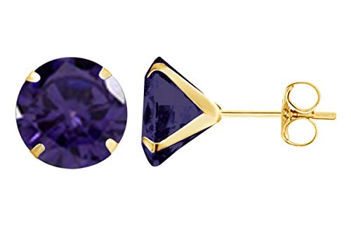 Christmas Sale 8mm Round Cut Simulated Alexandrite Stud Earrings in 14k Yellow Gold Over Sterling Silver ()